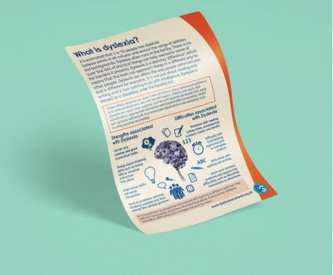 Image of A4 leaflet called What is Dyslexia?